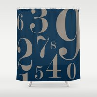 numbers Shower Curtains featuring Numbers  by Kimberly Jones