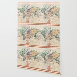 Vintage World Map 1801 Wallpaper