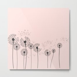 Contemporary Dandelion Drawing Metal Print