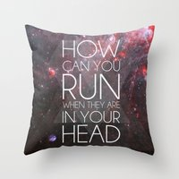 anxiety Throw Pillows featuring Anxiety by Ruveyda & Emre