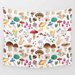 Watercolor forest mushroom illustration and plants Wall Tapestry