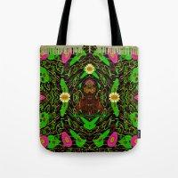 grafitti Tote Bags featuring Lady Pandas Jungle grafitti by Pepita Selles