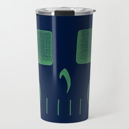 Skull Linework (Green / Dark Blue) Travel Mug