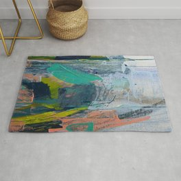 Connection [7]: a vibrant mixed-media abstract piece in blues greens and pink by Alyssa Hamilton Art Rug