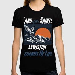 Land of the saints Lewiston Legends of life mask Eagles Funny T-shirt