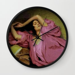 """Classical masterpiece """"Woman Stretching on Couch"""" by Emile Victor Prouvé Wall Clock"""