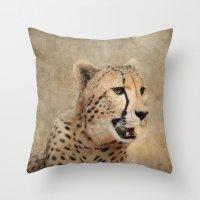 cheetah Throw Pillows featuring Cheetah by Jai Johnson