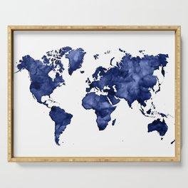 Dark navy blue watercolor world map Serving Tray