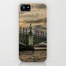 Sunset over Trinity Bridge, Saint Petersburg iPhone Case