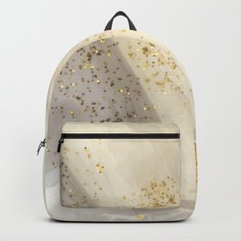 Marbled Paint Swirls in Cream, White and Gold Backpack