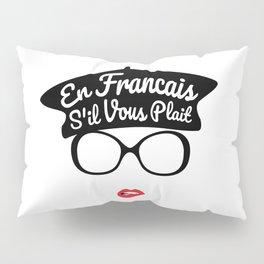 En Francais S'il Vous Plait - French Woman Beret Red Lips Pillow Sham