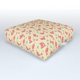 To the Window to the Narwhal - Coral & Cream Outdoor Floor Cushion