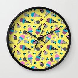 Cruncher - memphis throwback ice cream cone desert 1980s 80s style retro geometric neon pop art Wall Clock