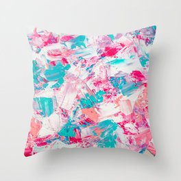 Modern bright candy pink turquoise pastel brushstrokes acrylic paint Throw Pillow