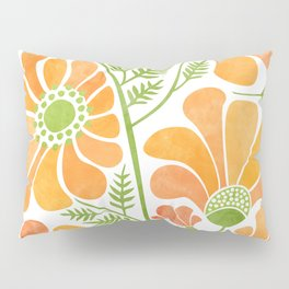 Happy California Poppies / hand drawn flowers Pillow Sham