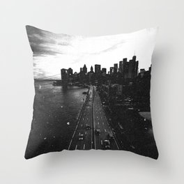 New York City Skyline Views in Black and White Throw Pillow