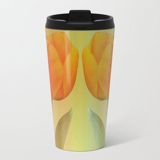Head-to-Head, mixed media art with elegant Tulips Metal Travel Mug