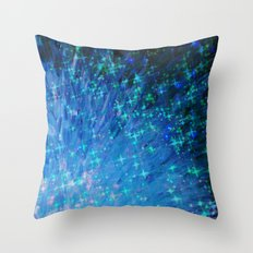 GALACTIC SCALES Sea Scales in Deep Royal Marine Navy Blue Tones, Stars Abstract Acrylic Painting  Throw Pillow