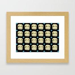 Blue Heart Sloth Framed Art Print