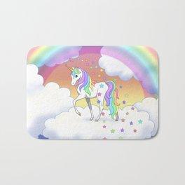 Pretty Rainbow Unicorn and Stars Bath Mat