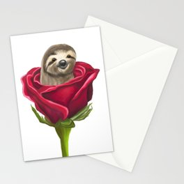 Sloth in a Rose Stationery Cards