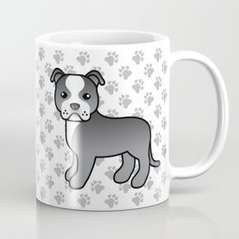 Blue And White English Staffordshire Bull Terrier Cartoon Dog Coffee Mug