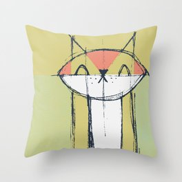 Cubist Cat Study #4 by Friztin Throw Pillow