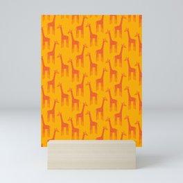 Giraffes-Orange Mini Art Print
