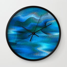 Waves of Abstraction (azure blue) Wall Clock