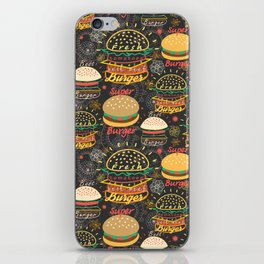 Graphic seamless pattern bright tasty burgers on a dark background iPhone Skin