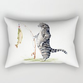Cat with a Fish Rectangular Pillow
