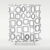 frames Shower Curtains featuring picture frames mono by Sharon Turner