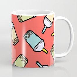 Bubble Tea Pattern in Red Coffee Mug