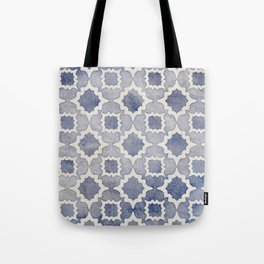 Worn & Faded Navy Denim Moroccan Pattern in grey blue & white Tote Bag