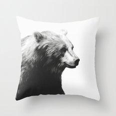 Bear // Calm (Black + White) Throw Pillow