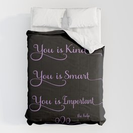 you is kind, black and purple Comforters
