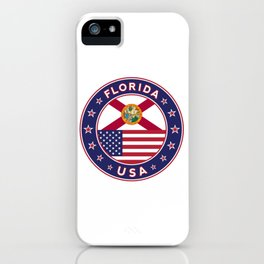 Florida, Florida t-shirt, Florida sticker, circle, Florida flag, white bg iPhone Case