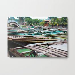 Boats in Ninh Binh, Vietnam Metal Print