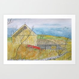 The Old Yellow Barn Art Print