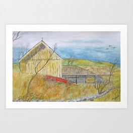 The Old Yellow Barn Art Print