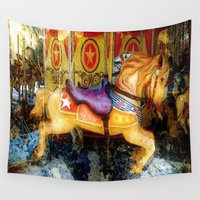 carousel Wall Tapestries featuring Carousel by AlyZen Moonshadow