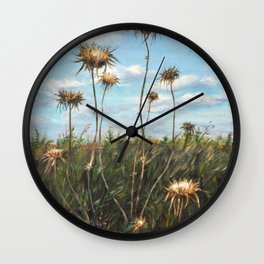 Thorn Fields_oil on wood Wall Clock