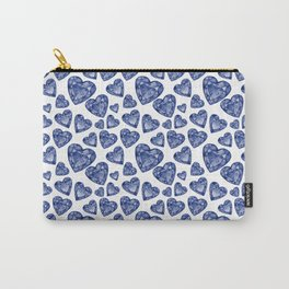 Glam Blue Jewel Hearts Pattern Carry-All Pouch