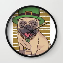 Pug St. Patricks Day Wall Clock