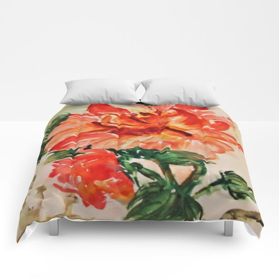 red rose japanese art Comforters