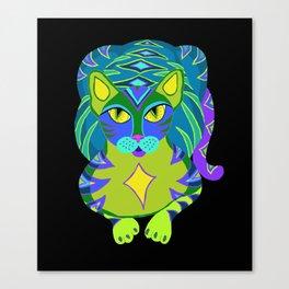 Peacock Tabby Noire Canvas Print