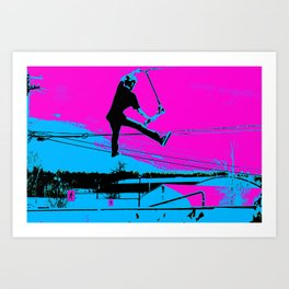 The Tail-Grab Scooter Stunt Art Print