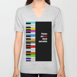 colorful piano - not black and white oil poster Unisex V-Neck