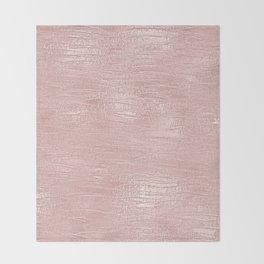 Metallic Rose Gold Blush Throw Blanket