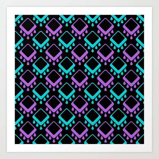 Abstract colorful geometric pattern . Black , Magenta , turquoise . Art Print